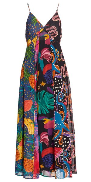 Farm Rio mixed prints tiered midi dress in black multi
