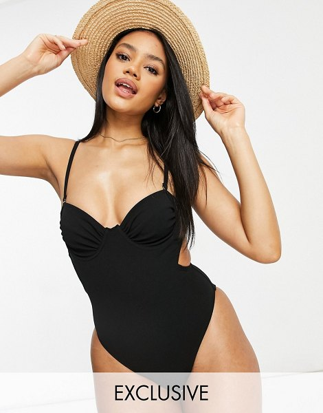 Fashion Union exclusive underwired swimsuit with ruching detail in black in black