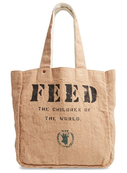 FEED 1 bag burlap tote in white