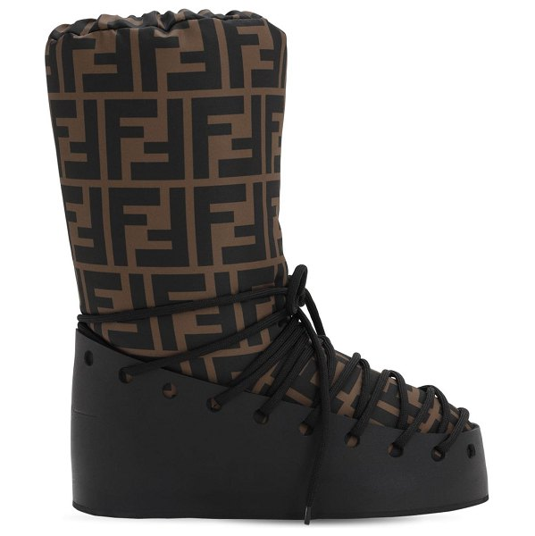Fendi 30mm ff nylon & leather snow boots in black,brown