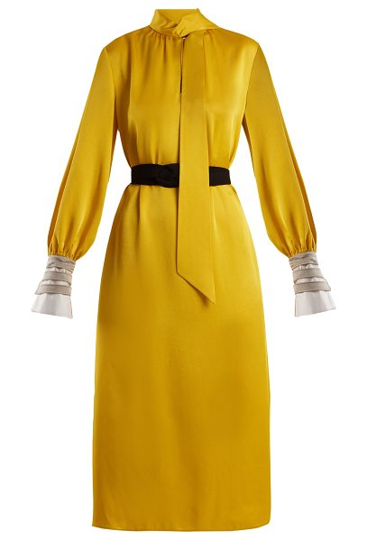 1e5dcb7468 Fendi Abito High-Neck Satin-Cady Midi Dress in Yellow