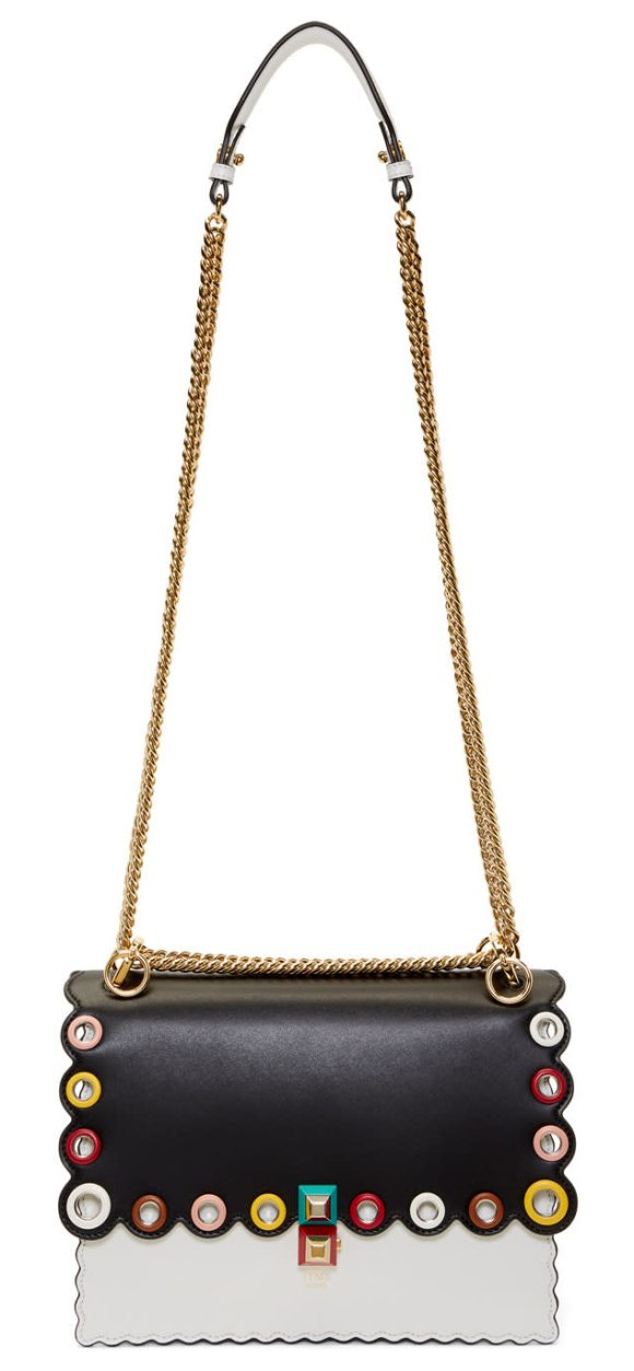 Fendi and White Eyelets Kan I Bag in black - Structured buffed calfskin shoulder bag colorblocked in...