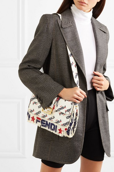 Fendi baguette fringed beaded printed leather shoulder bag in white - Who knew that an experimental post on artist @hey...