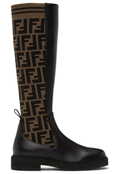 Fendi brown and black forever  rockoko tall boots in f0pmm tobac