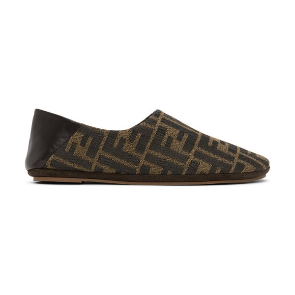 Fendi brown jacquard forever  loafers in f1d1c tobac