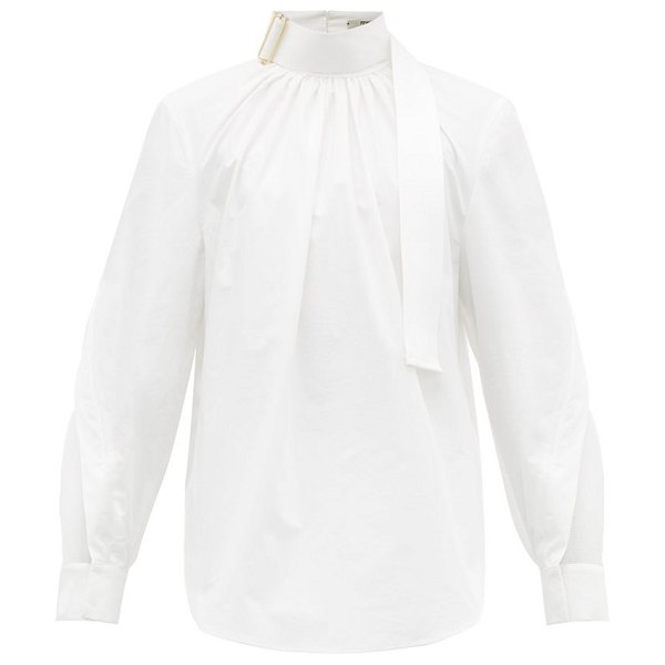 Fendi buckled and mesh panelled cotton poplin shirt in white