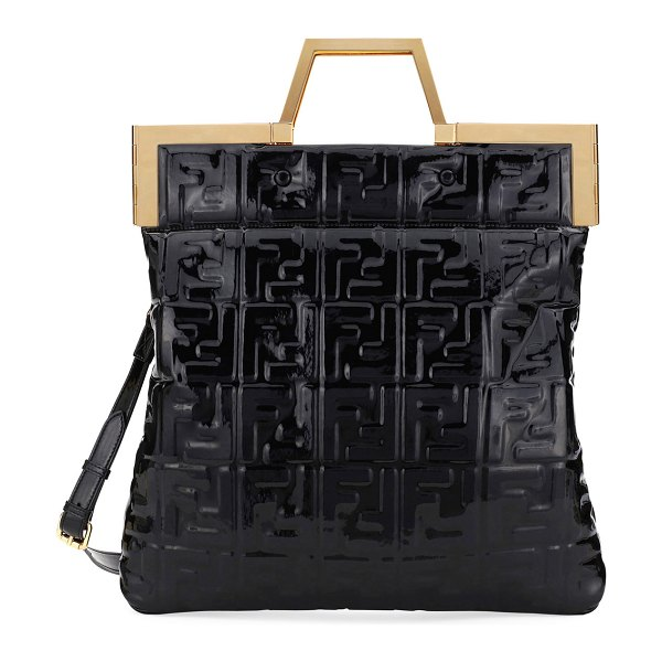 Fendi Catwalk Convertible Tote/Clutch Bag in black