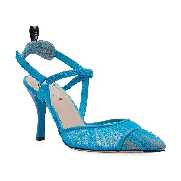 Fendi Colibri Ruched Slingback Pumps in blue