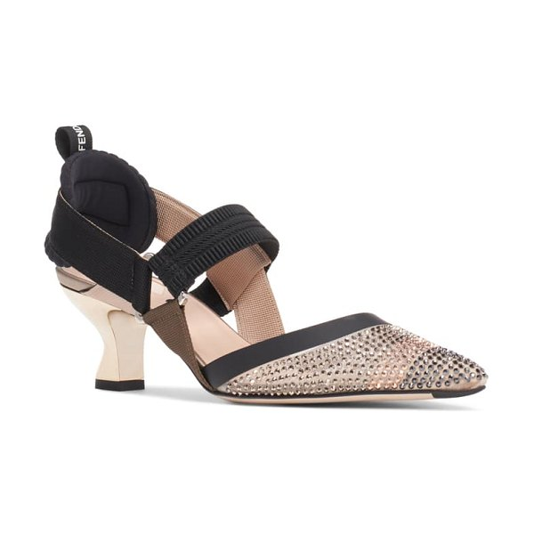Fendi colibri strass embellished slingback pump in black/ beige/ crystal