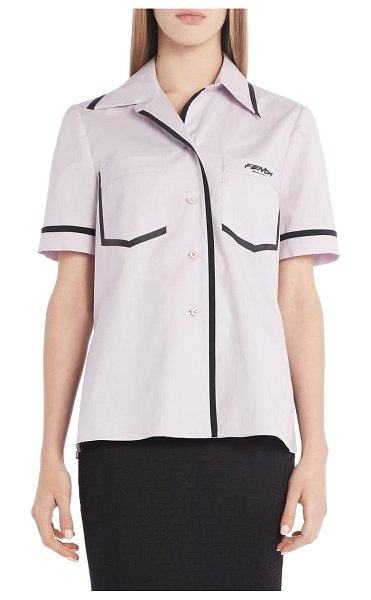 Fendi contrast trim cotton poplin shirt in xylophone