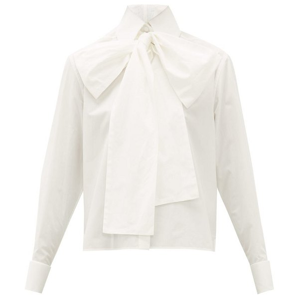 Fendi cropped cotton oxford pussybow shirt in white