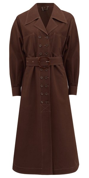 Fendi double-breasted belted cotton trench coat in brown