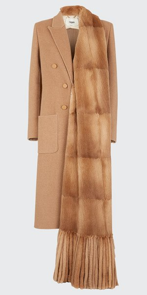 Fendi Double-Breasted Camel Hair Paneled Overcoat in camel