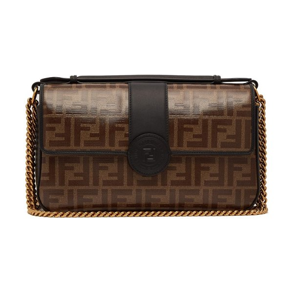 Fendi Double F Leather Baguette Bag in black brown - Fendi - This version of Fendi's iconic baguette bag is...