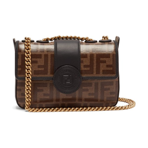 Fendi Double F Leather Mini Baguette Bag in brown multi - Fendi - This brown leather mini baguette is a downsized...
