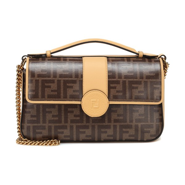 Fendi double f leather shoulder bag in multicoloured