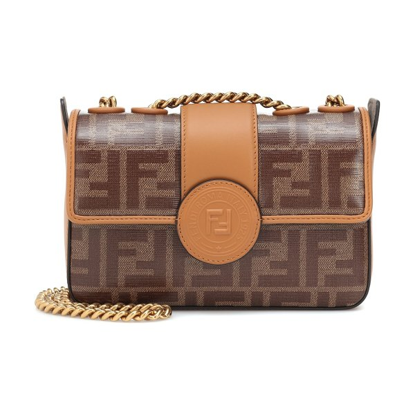 Fendi Double F leather shoulder bag in brown