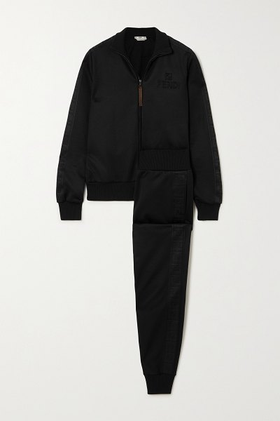 Fendi embossed jersey-piqué track jacket and pants set in black