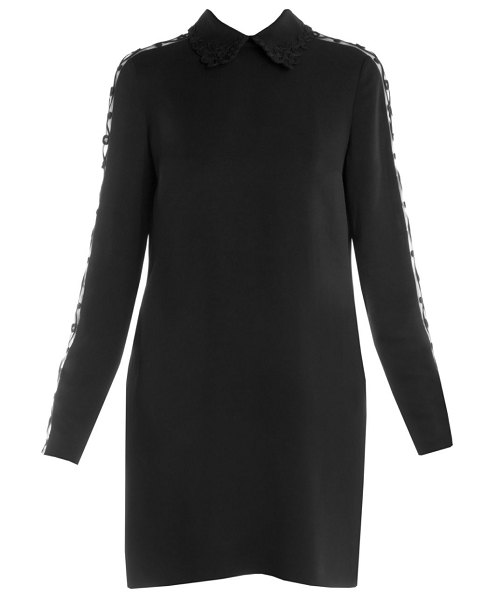 Fendi embroidered detail stretch cady dress in black