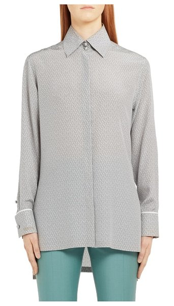 Fendi embroidered dot longline silk blouse in grey