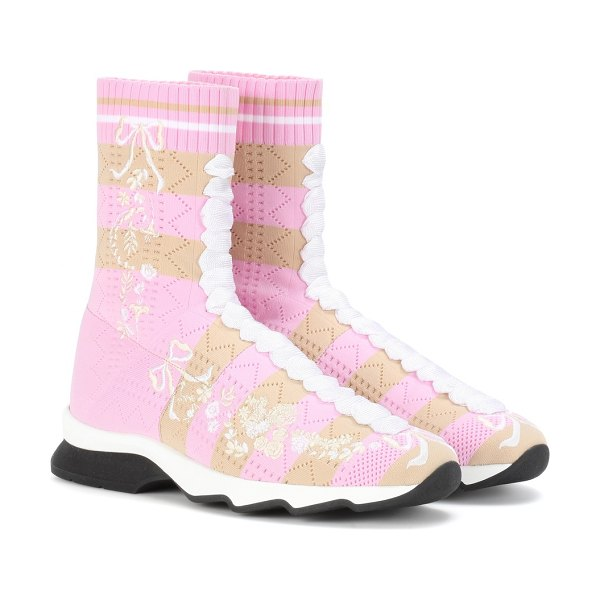 Fendi embroidered high-top sneakers in pink