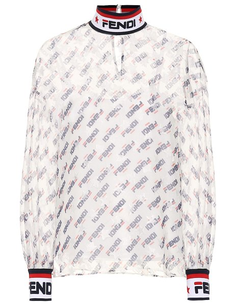 Fendi FENDI MANIA georgette blouse in multicoloured - This complex shirt from the FENDI MANIA collection...
