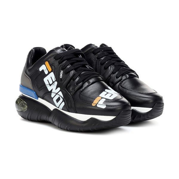 Fendi FENDI MANIA leather sneakers in black - Fendi merges two of the season's biggest trends on these...