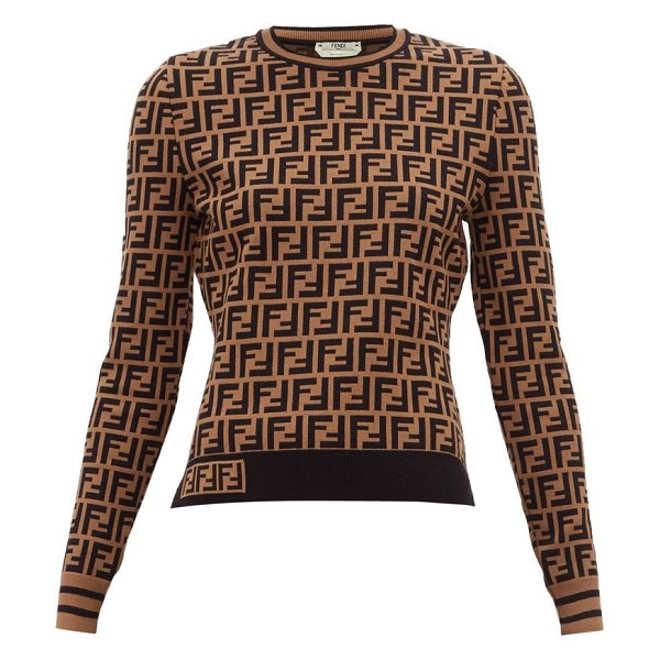 Fendi ff logo jacquard sweater in brown multi