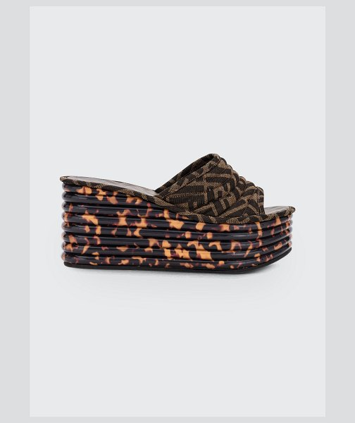 Fendi FF Logo Wedge Slide Sandals in brown