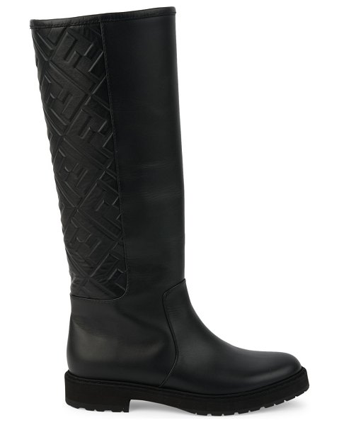 Fendi ff tall leather boots in nero