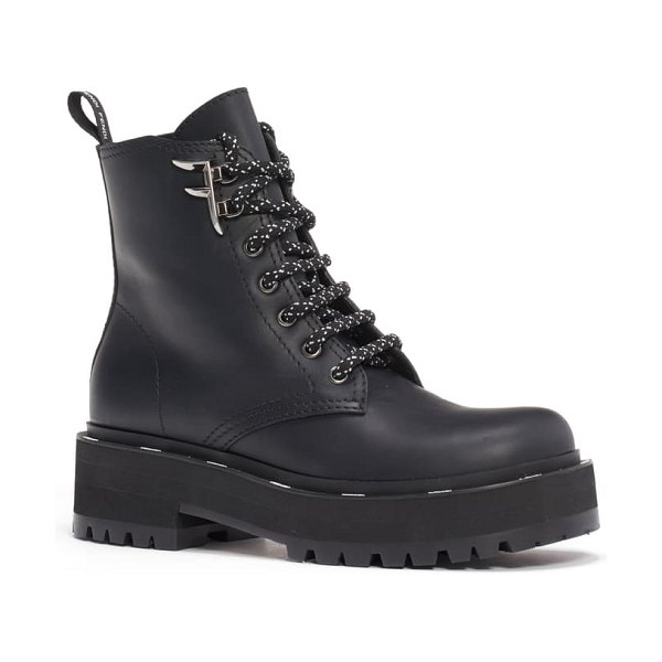 Fendi ffreedom lace-up biker boot in black
