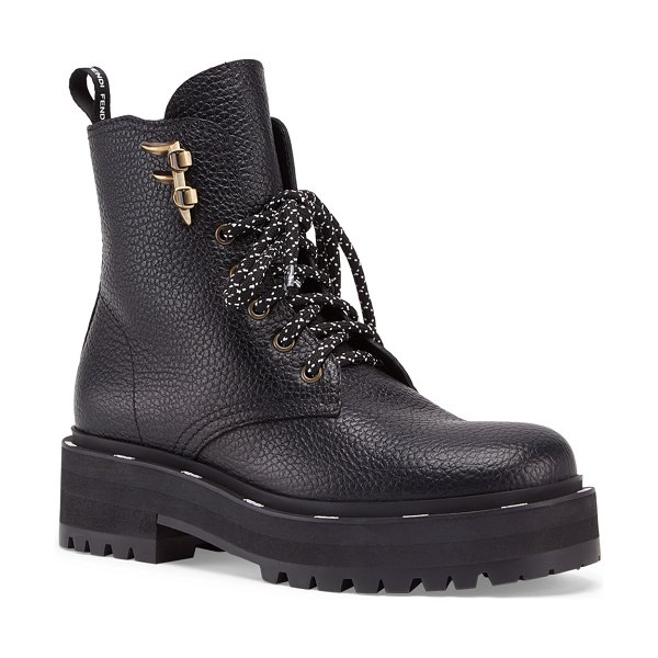 Fendi Ffreedom Lace-Up Hiker Booties in black