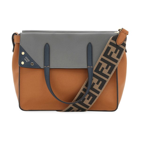 Fendi Flip Small Grace Leather Tote Bag in brown pattern