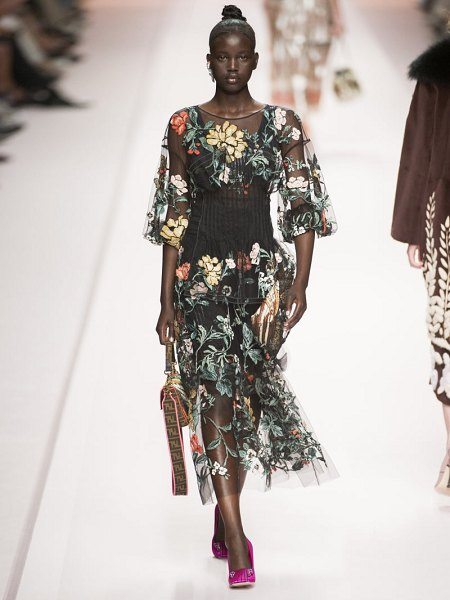 Fendi floral embroidered tulle overlay silk gown in black multi
