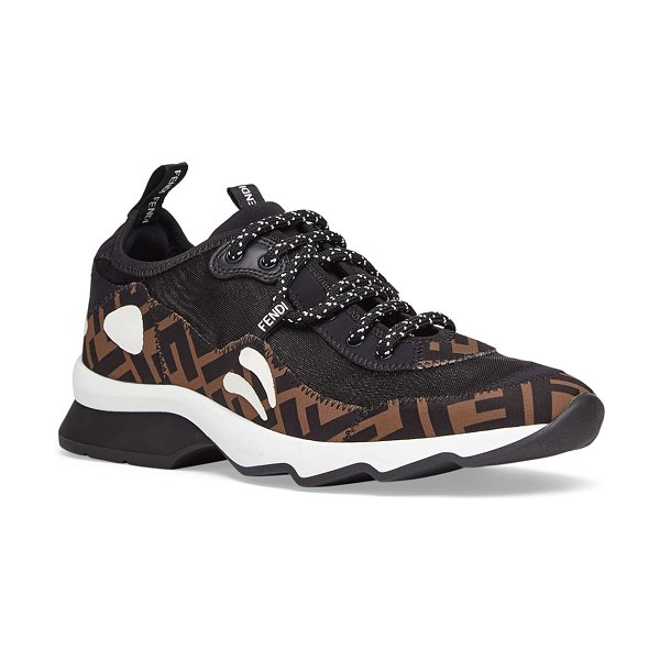 Fendi Freedom FF Patchwork Sneakers in black pattern