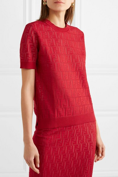 Fendi intarsia-knit cotton-blend sweater in red
