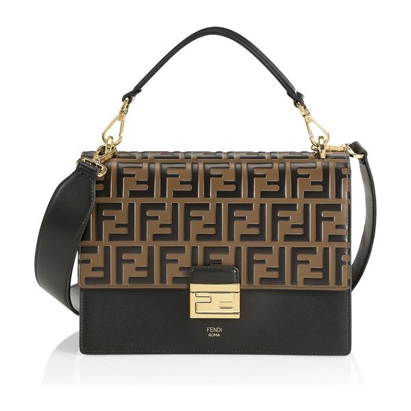 Fendi kan i leather shoulder bag in black
