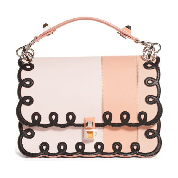 Fendi kan i scalloped stripe leather shoulder bag in coral - Mixed-finish  pyramid studs 95cd2d5c81314