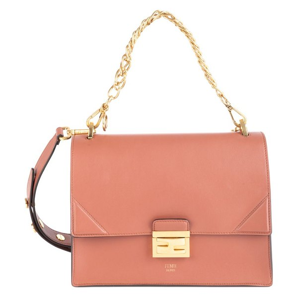 Fendi kan u leather shoulder bag in pink