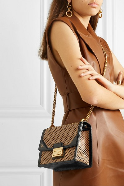 Fendi kanu small perforated leather shoulder bag in brown