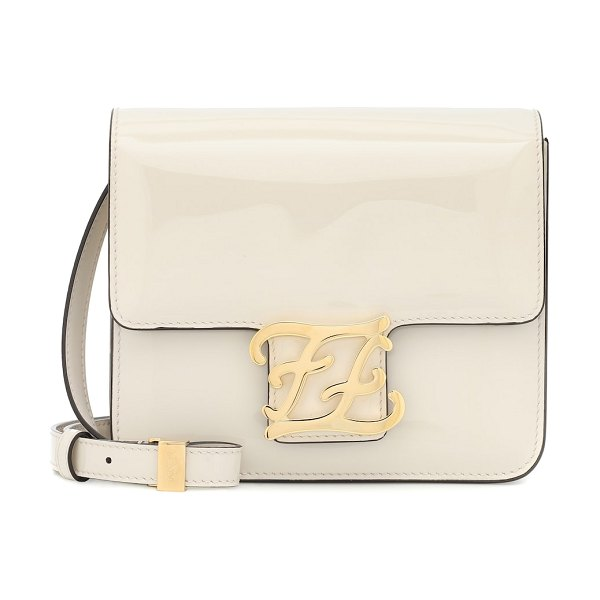 Fendi karligraphy box leather shoulder bag in white