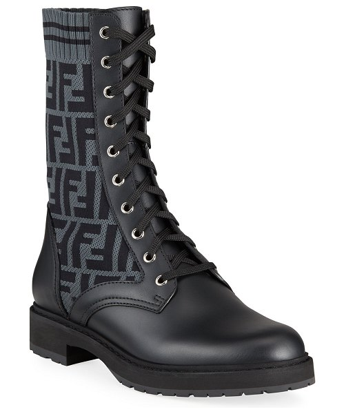 Fendi Leather and FF Combat Boots in gray pattern