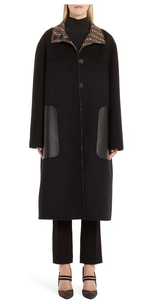Fendi leather pocket reversible ff wool & silk coat in brown - Twice the high fashion in one topper, this oversized,...