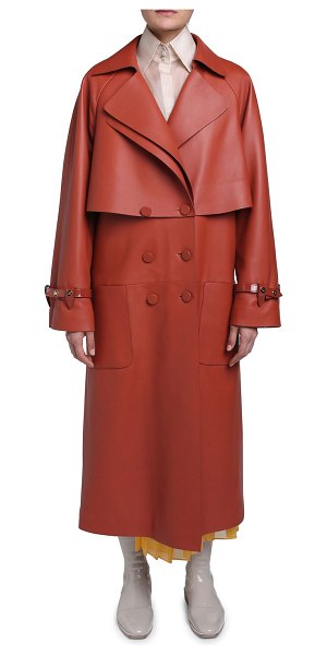 Fendi Leather Trench Coat in yellow