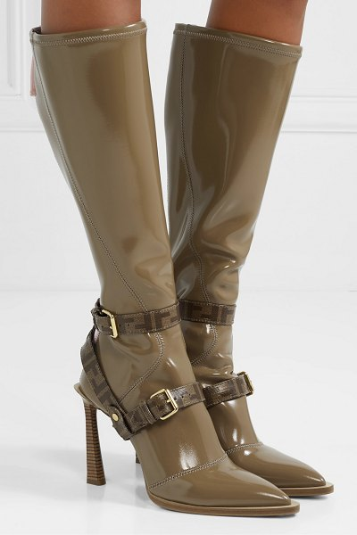 Fendi logo-print coated canvas-trimmed glossed-neoprene knee boots in brown
