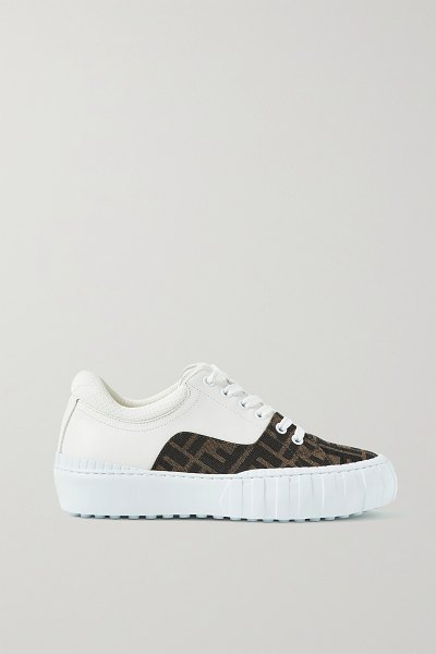 Fendi mesh-trimmed logo-jacquard canvas and leather sneakers in brown