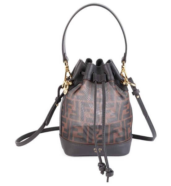 Fendi mini mon tresor mesh bucket bag in blue,brown