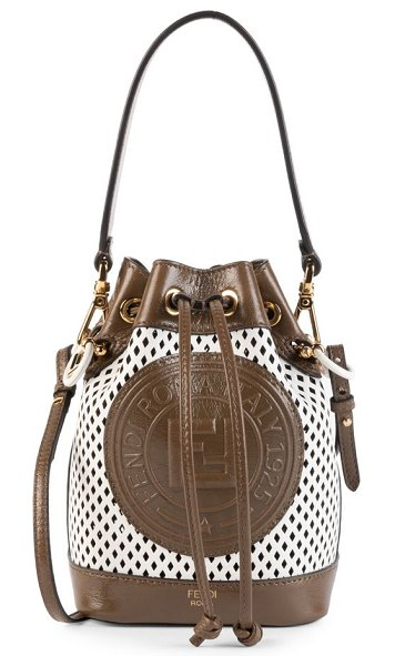 Fendi mini mon tresor perforated leather bucket bag in sand,ice white