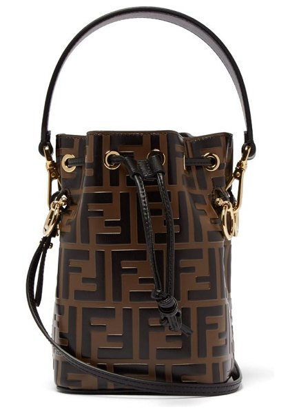 Fendi mon tresor mini ff embossed leather bucket bag in black brown