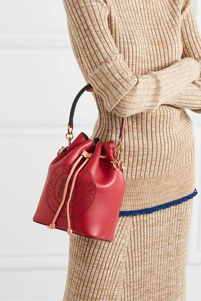 Fendi mon trésor perforated leather bucket bag in red